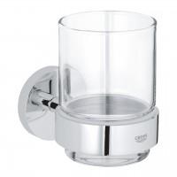 bicchiere con supporto a muro cromo Grohe Essentials - 40447001