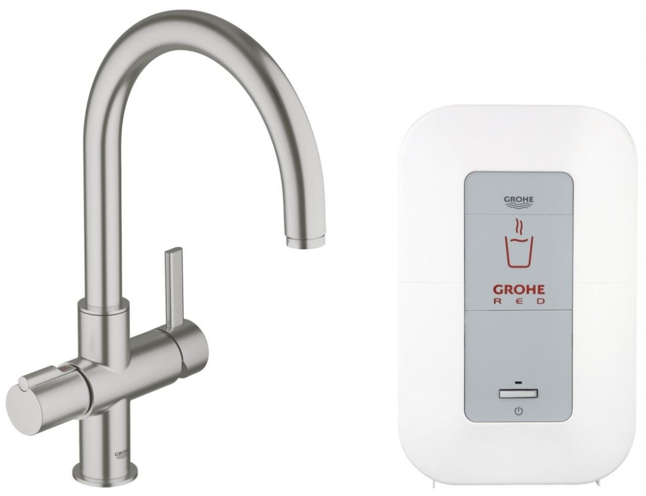 miscelatore cucina grohe red duo supersteel 30083dc0 rubinetti acqua bollente rubinetti. Black Bedroom Furniture Sets. Home Design Ideas