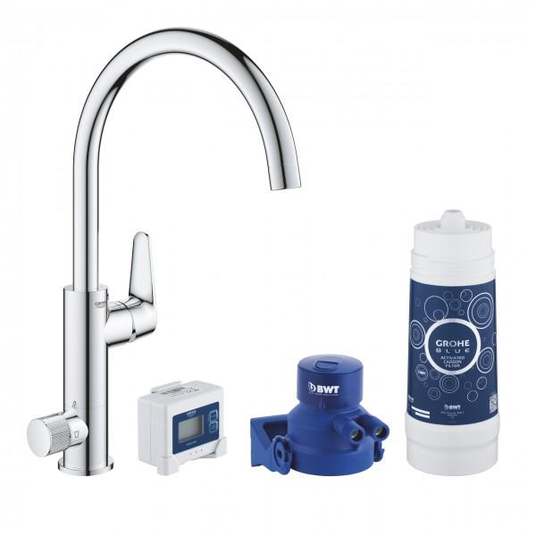 Grohe Blue Pure BauCurve miscelatore monocomando per lavello con sistema filtrante dell'acqua, cromato - 30385000