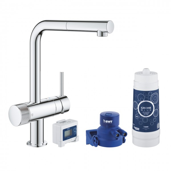 Grohe Blue Pure Minta miscelatore monocomando per lavello con sistema filtrante dell'acqua, cromato - 30382000