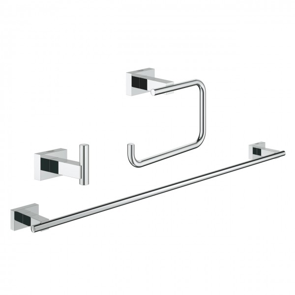 Set accessori bagno 3-in-1 cromo Grohe Essentials Cube - 40777001