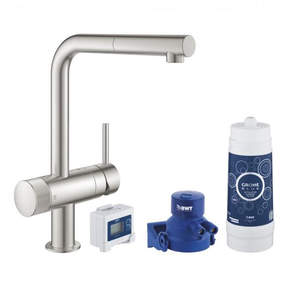 Grohe Blue Pure Minta miscelatore monocomando per lavello con sistema filtrante dell'acqua, supersteel - 30382DC0